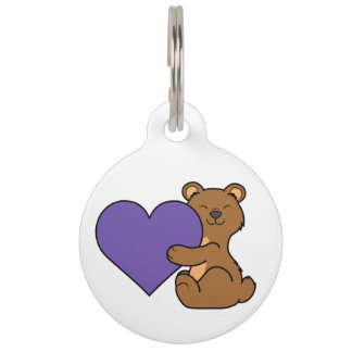 Valentine's Day Cute Brown Bear with Purple Heart Pet ID Tag