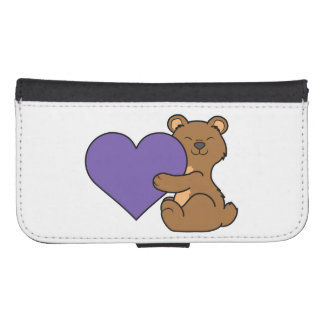 Valentine's Day Cute Brown Bear with Purple Heart Phone Wallet
