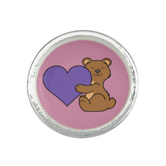 Valentine's Day Cute Brown Bear with Purple Heart Photo Ring