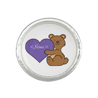Valentine's Day Cute Brown Bear with Purple Heart Photo Rings