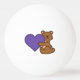 Valentine's Day Cute Brown Bear with Purple Heart Ping Pong Ball