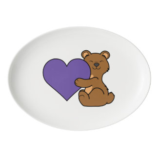 Valentine's Day Cute Brown Bear with Purple Heart Porcelain Serving Platter