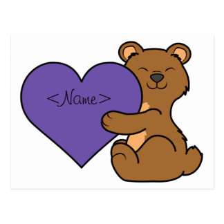 Valentine's Day Cute Brown Bear with Purple Heart Postcard