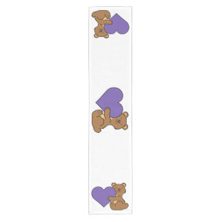 Valentine's Day Cute Brown Bear with Purple Heart Short Table Runner
