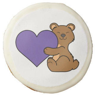 Valentine's Day Cute Brown Bear with Purple Heart Sugar Cookie