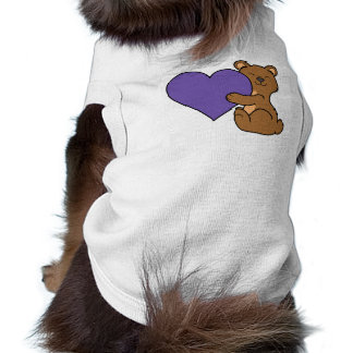 Valentine's Day Cute Brown Bear with Purple Heart T-Shirt
