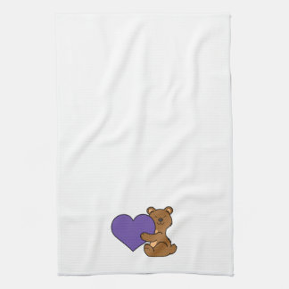 Valentine's Day Cute Brown Bear with Purple Heart Towel