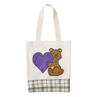 Valentine's Day Cute Brown Bear with Purple Heart Zazzle HEART Tote Bag