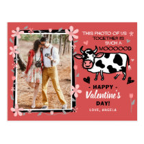 Valentine's Day Cute Cow Custom Couple Photo Funny Postcard