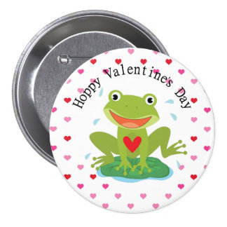 Valentine's Day Cute Frog on Lily Pad Pinback Button