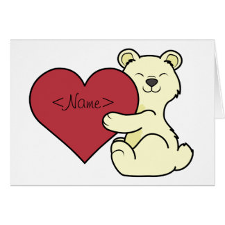 Valentine's Day Cute Kermode Bear with Red Heart Card