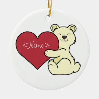 Valentine's Day Cute Kermode Bear with Red Heart Ceramic Ornament