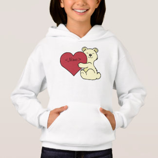 Valentine's Day Cute Kermode Bear with Red Heart Hoodie