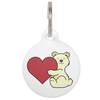 Valentine's Day Cute Kermode Bear with Red Heart Pet Name Tag