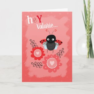 Valentine's Day Cute Ladybug Daughters Name Holiday Card