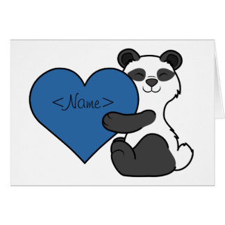 Valentine's Day Cute Panda Bear with Blue Heart Card