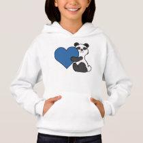 Valentine's Day Cute Panda Bear with Blue Heart Hoodie