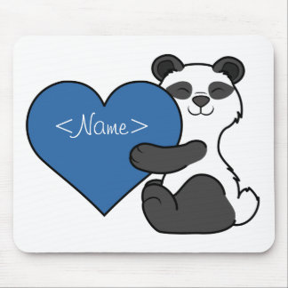 Valentine's Day Cute Panda Bear with Blue Heart Mouse Pad