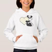 Valentine's Day Cute Panda Bear with Cream Heart Hoodie