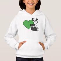 Valentine's Day Cute Panda Bear with Green Heart Hoodie