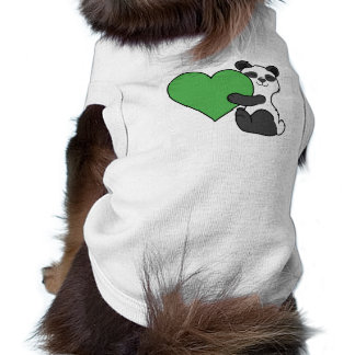Valentine's Day Cute Panda Bear with Green Heart Shirt