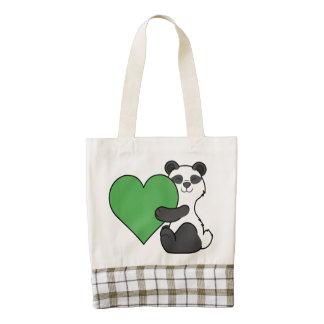 Valentine's Day Cute Panda Bear with Green Heart Zazzle HEART Tote Bag