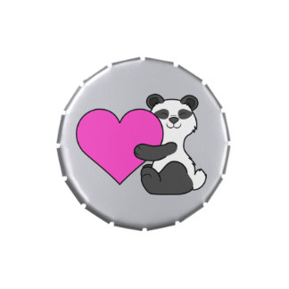 Valentine's Day Cute Panda Bear with Pink Heart Jelly Belly Candy Tin