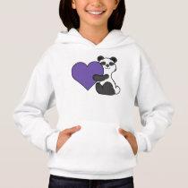 Valentine's Day Cute Panda Bear with Purple Heart Hoodie