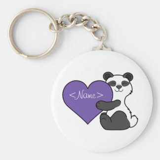 Valentine's Day Cute Panda Bear with Purple Heart Keychain