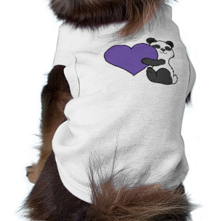 Valentine's Day Cute Panda Bear with Purple Heart Shirt