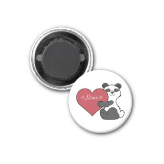 Valentine's Day Cute Panda Bear with Red Heart 1 Inch Round Magnet