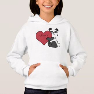 Valentine's Day Cute Panda Bear with Red Heart Hoodie