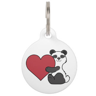 Valentine's Day Cute Panda Bear with Red Heart Pet ID Tag