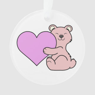 Valentine's Day Cute Pink Bear with Heart Ornament