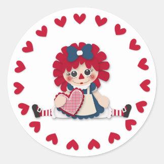 Valentine's Day - Cute Rag Doll Classic Round Sticker