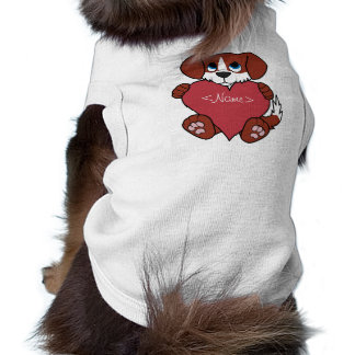 Valentine's Day Cute Red Dog with Blaze & Heart Tee