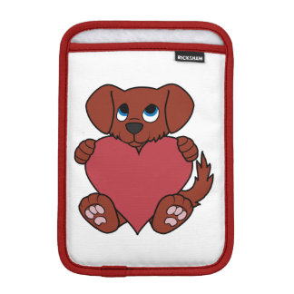 Valentine's Day Cute Red Puppy Dog with Heart Sleeve For iPad Mini