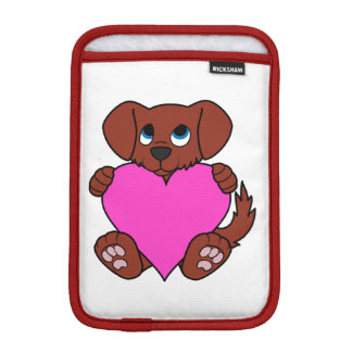 Valentine's Day Cute Red Puppy Dog with Pink Heart Sleeve For iPad Mini