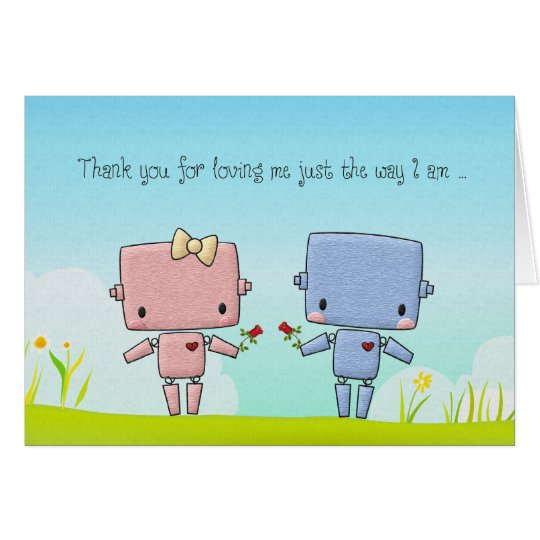 Valentine's Day Cute Robot Couple Card