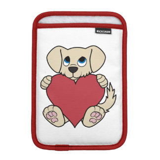 Valentine's Day Cute Tan Puppy Dog with Red Heart Sleeve For iPad Mini