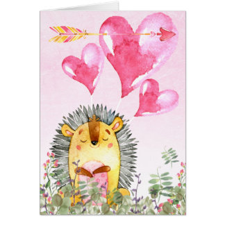 Valentines Day Cute Watercolor Hedgehog Card