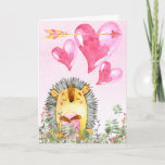 Valentines Day Cute Watercolor Hedgehog Holiday Card