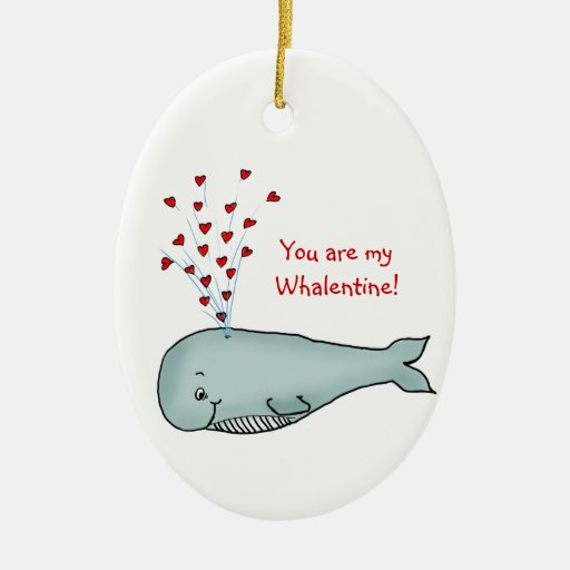 Valentine's Day - Cute Whale with Hearts Double-Sided Oval Ceramic Christmas Ornament