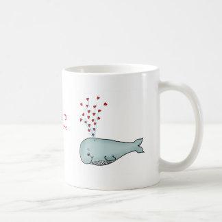 Valentine's Day - Cute Whale with Hearts Coffee Mug