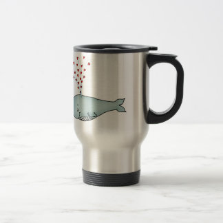 Valentine's Day - Cute Whale with Hearts Travel Mug
