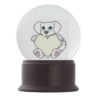 Valentine's Day Cute White Dog with Cream Heart Snow Globe