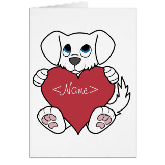 Valentine's Day Cute White Dog with Red Heart Card
