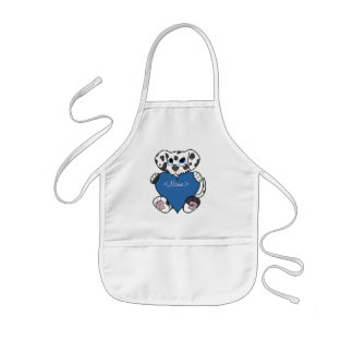Valentine's Day Dalmatian Dog with Blue Heart Kids' Apron