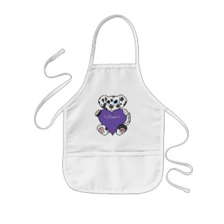 Valentine's Day Dalmatian Dog with Purple Heart Kids' Apron