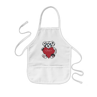 Valentine's Day Dalmatian Dog with Red Heart Kids' Apron